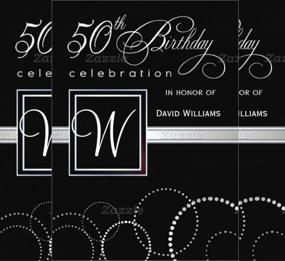 50th birthday invitation cards printable ; Black-Themed-50th-Birthday-Invitation-card-design