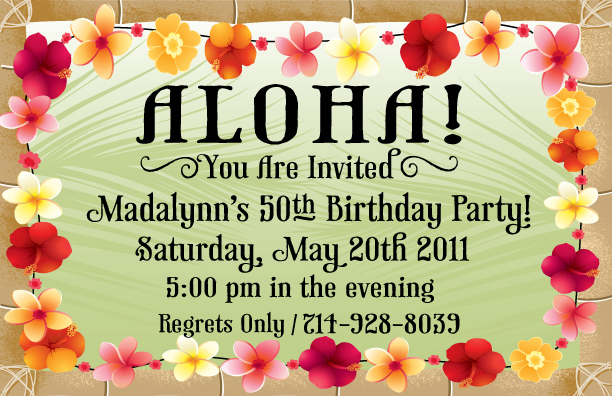 50th birthday party borders ; follow-us-black-text-colored-flowers-borders-designer-girly-layout-and-decoration-printable-50th-birthday-hawaiian-birthday-cards