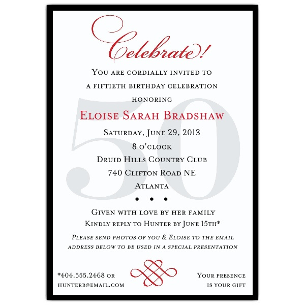50th birthday party borders ; uncategorized-admirable-50th-birthday-party-invitation-wording-with-black-border-colors-and-white-themed-colors-plus-red-black-text-colors