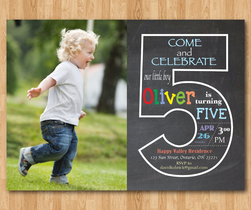 5th birthday invitation cards printable ; 5th-birthday-invitations-chalkboard-5th-birthday-invitation-with-picture-fifth