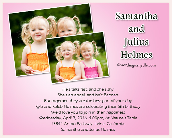 5th birthday invitation quotes ; twin-birthday-party-invitation-wordings