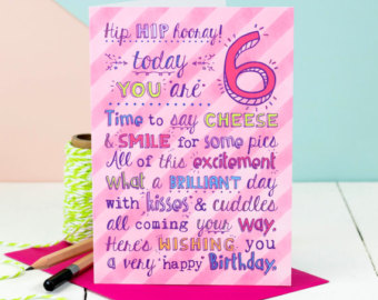 6 year old birthday card wishes ; il_340x270