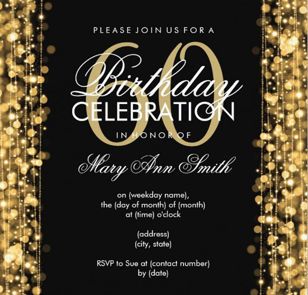 60th Birthday Invitation Cards Design Party Invitations With