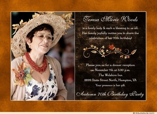 70th Birthday Invitation Cards Designs Fall Lady