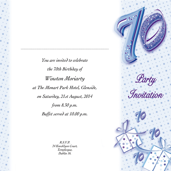 70th Birthday Invitation Cards Designs Occasion Card 70 1w