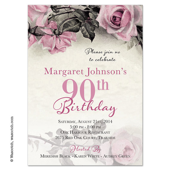 90th birthday borders ; vintage-rose-illustration-adult-90th-birthday-invitations-pink-90th-birthday-invites