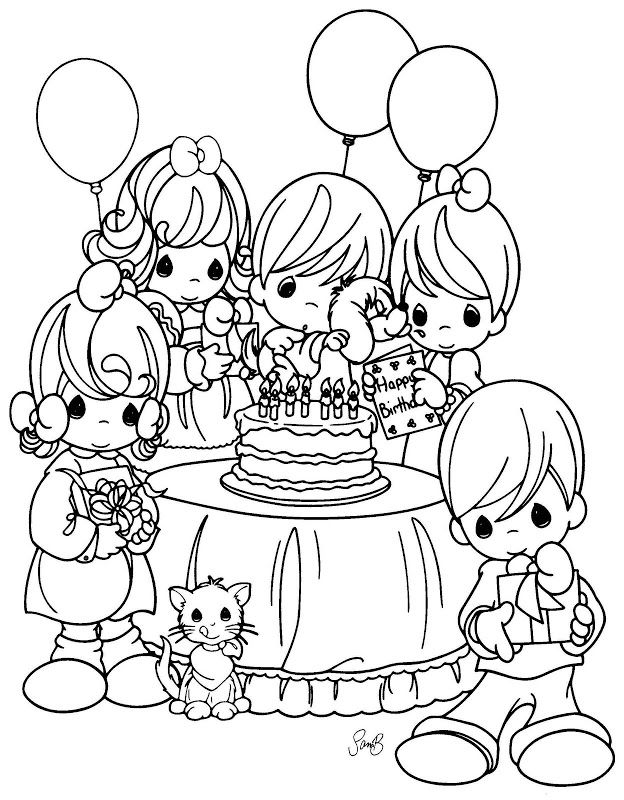 a birthday party drawing ; 49c0b1318d31400c80a481a5de7ae269--adult-coloring-coloring-books