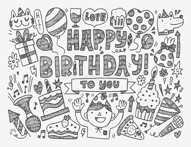 a birthday party drawing ; doodle-birthday-party-background-cartoon-vector-illustration-45052150