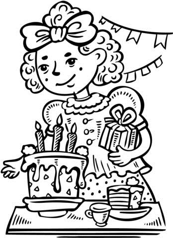 a birthday party drawing ; girl-has-a-birthday-party-coloring-page