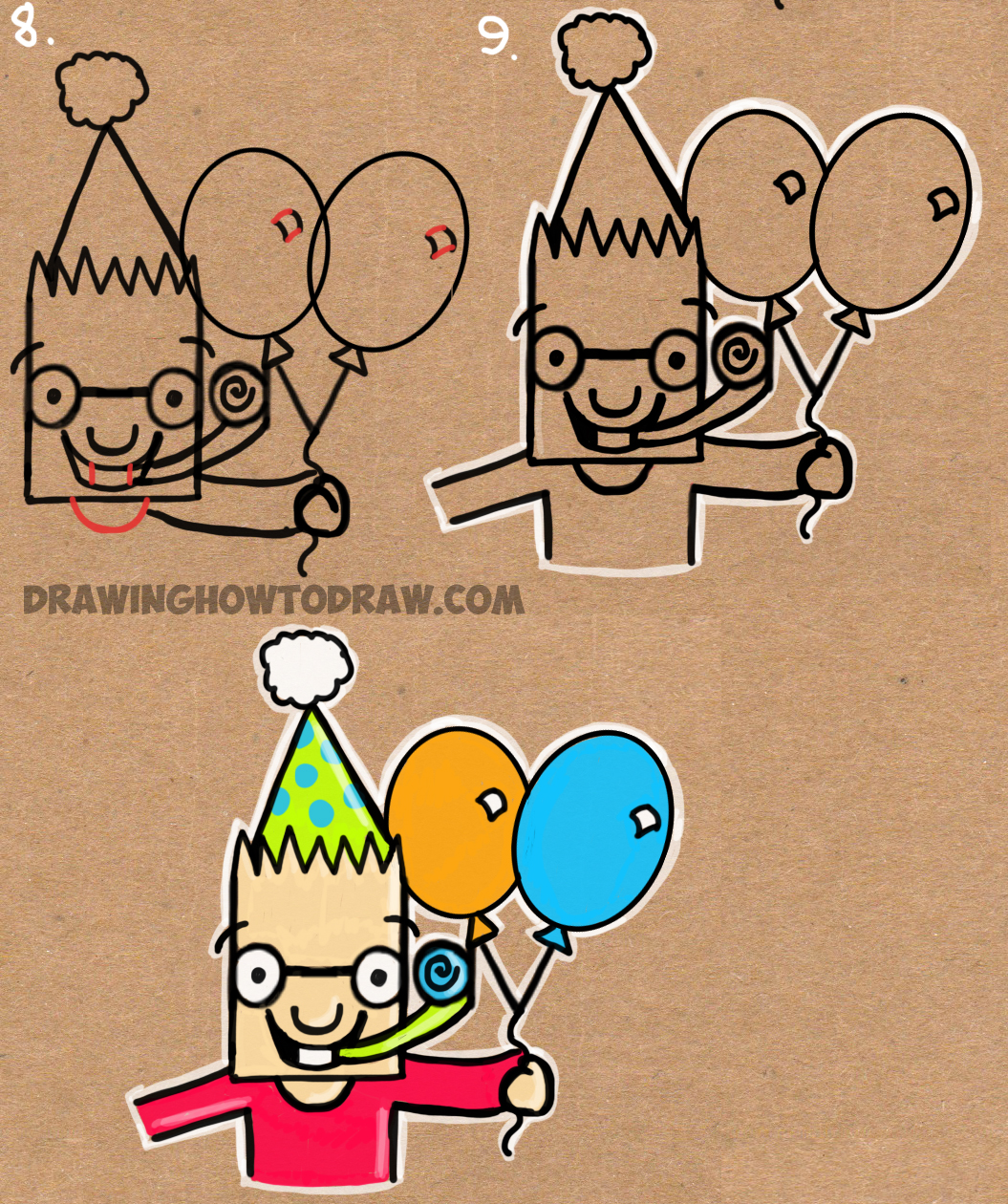 a birthday party drawing ; howtodrawhappybirthdaypicturefromb-day-word2