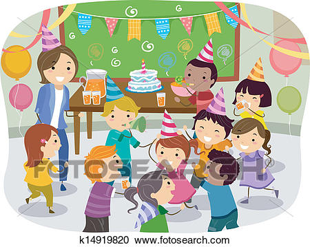 a birthday party drawing ; stickman-kids-school-birthday-party-clipart__k14919820