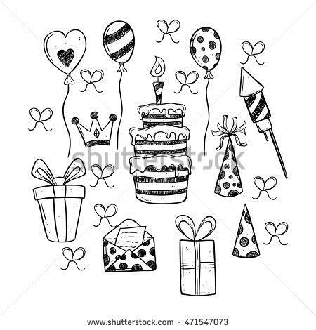 a birthday party drawing ; stock-vector-black-and-white-birthday-party-icons-set-using-hand-drawing-style-471547073
