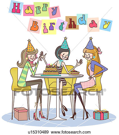 a birthday party drawing ; three-women-sitting-at-a-table-and-stock-illustration__u15310489