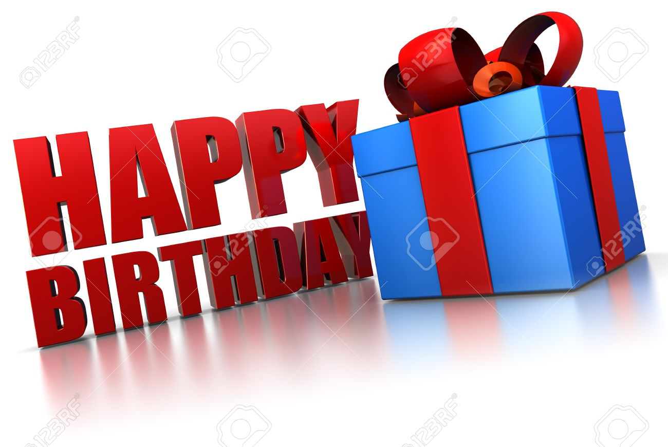 a picture of a happy birthday sign ; 7550614-3d-illustration-of-happy-birthday-sign-and-gift-box