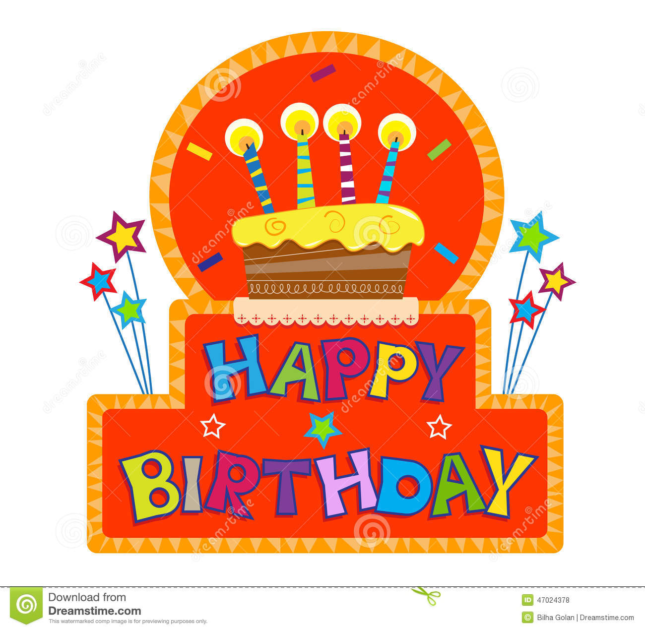 a picture of a happy birthday sign ; happy-birthday-sign-cake-candles-top-colorful-eps-47024378