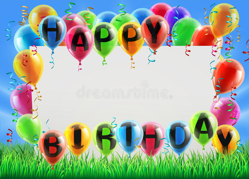 a picture of a happy birthday sign ; happy-birthday-sign-field-balloons-reading-great-party-invite-similar-49591794