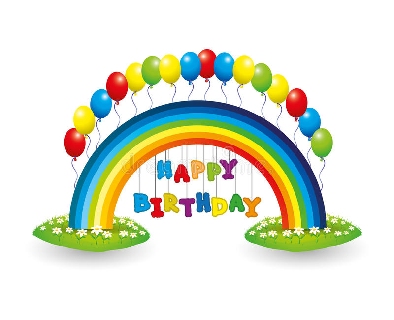 a picture of a happy birthday sign ; happy-birthday-sign-vector-rainbow-balloons-39721575
