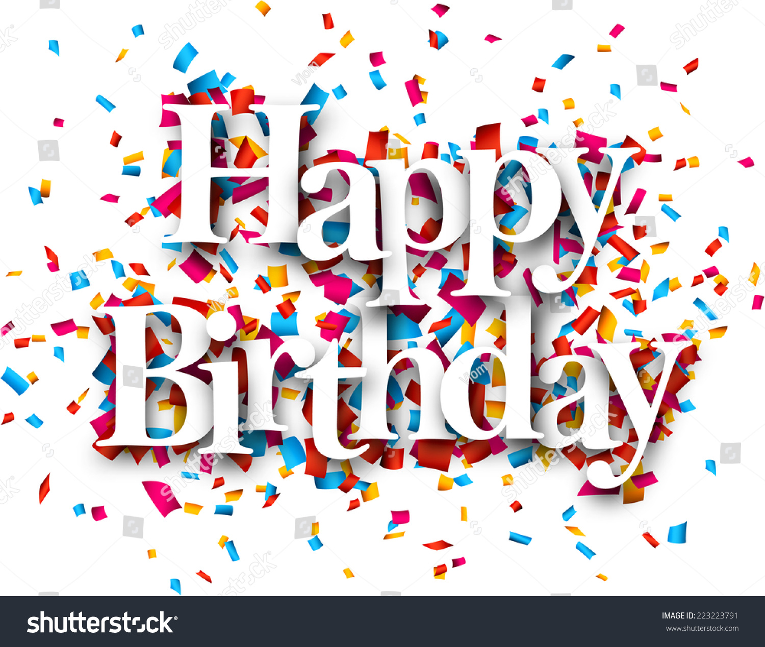 a picture of a happy birthday sign ; stock-vector-white-happy-birthday-sign-over-confetti-background-vector-holiday-illustration-223223791