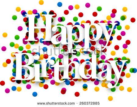 a picture of a happy birthday sign ; stock-vector-white-happy-birthday-sign-over-confetti-background-vector-holiday-illustration-260372885
