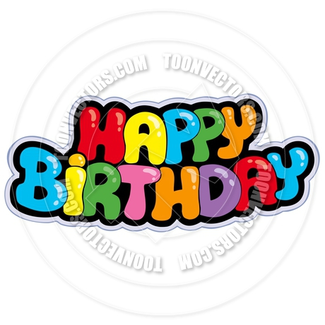 a picture of a happy birthday sign ; toonvectors-40557-460
