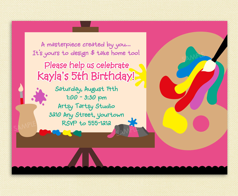 Art Themed Birthday Party Invitation Wording 10 Year Old