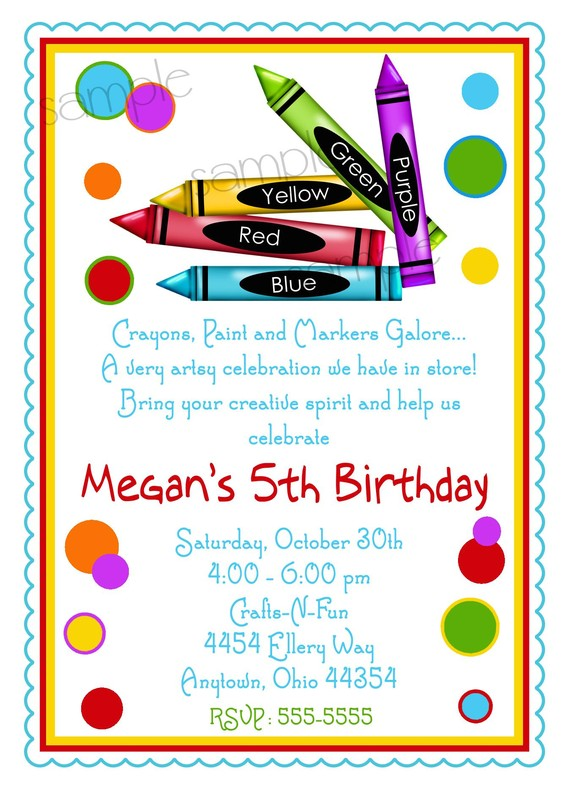 art themed birthday party invitation wording ; art-birthday-party-invitation-wording-items-similar-to-art-party-invitations-crayon-invitations-art-download
