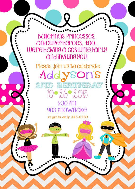 art themed birthday party invitation wording ; party-invites-costume-birthday-party-invitation-design-for-girl-with-chevron-background-and-polka-dot