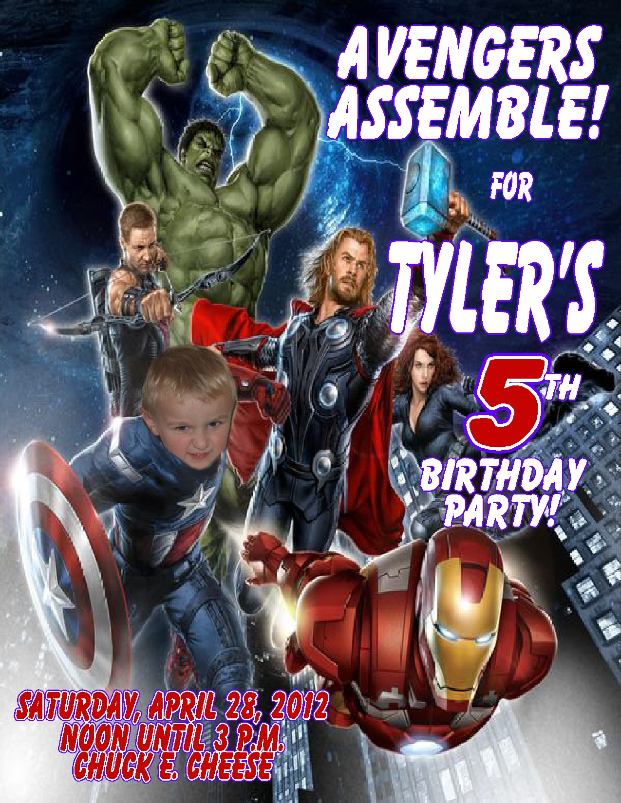 avengers themed birthday invitation ; 7a9427003ea4f5d0af35ddbee892f76a