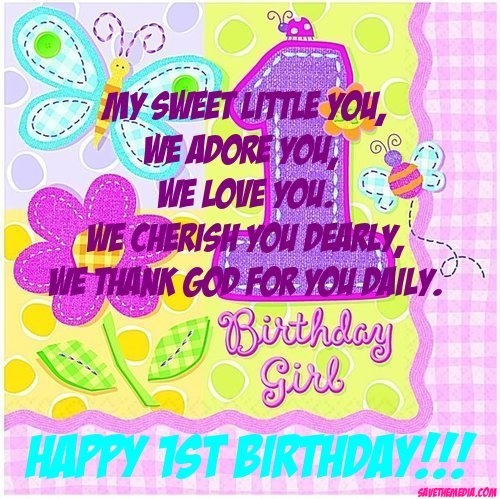 baby 1st birthday greeting message ; 95027275fae2f9054a804604fe6f52b9
