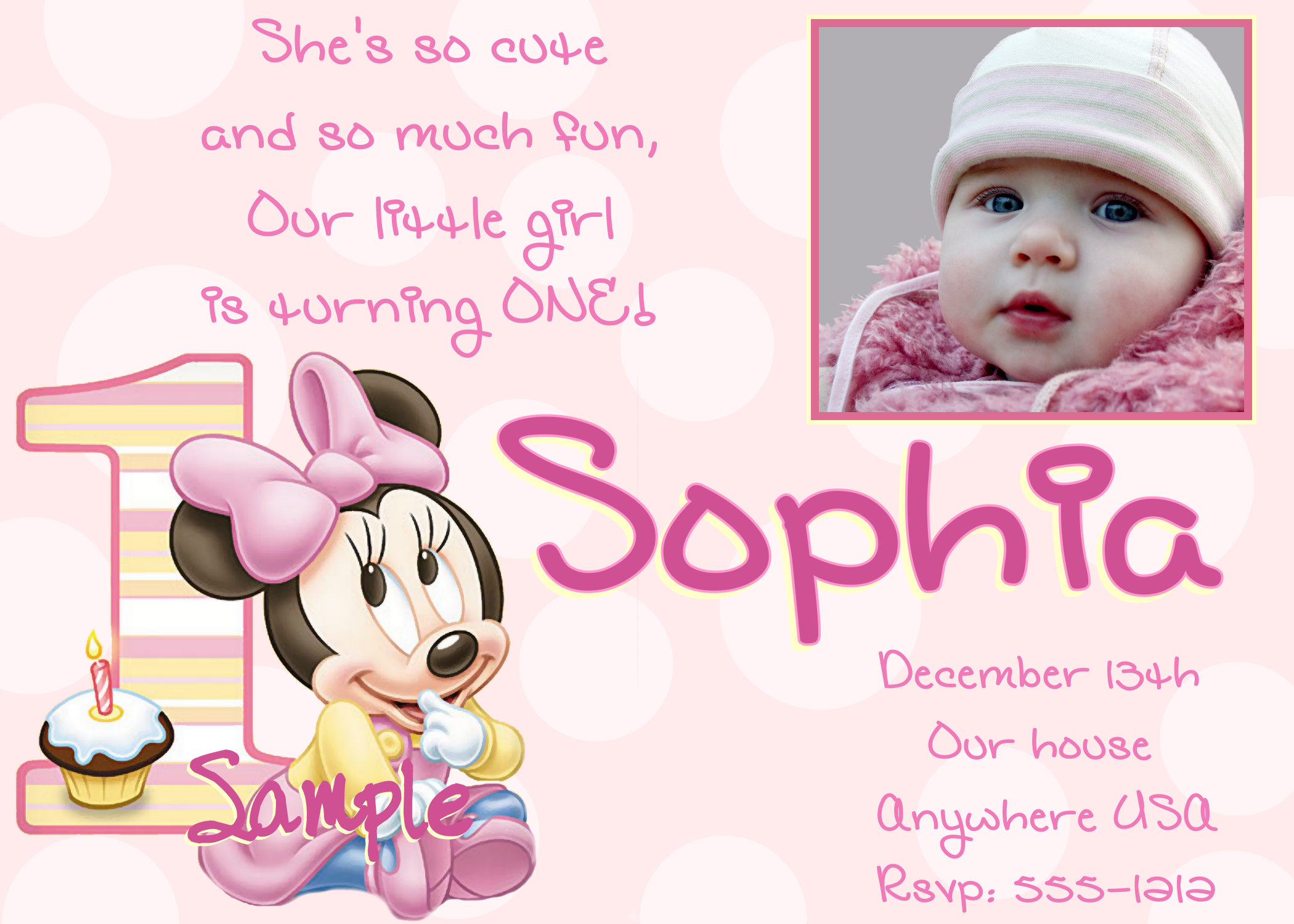 baby birthday card design ; Cute-Minnie-Mouse-1st-Birthday-Invitations