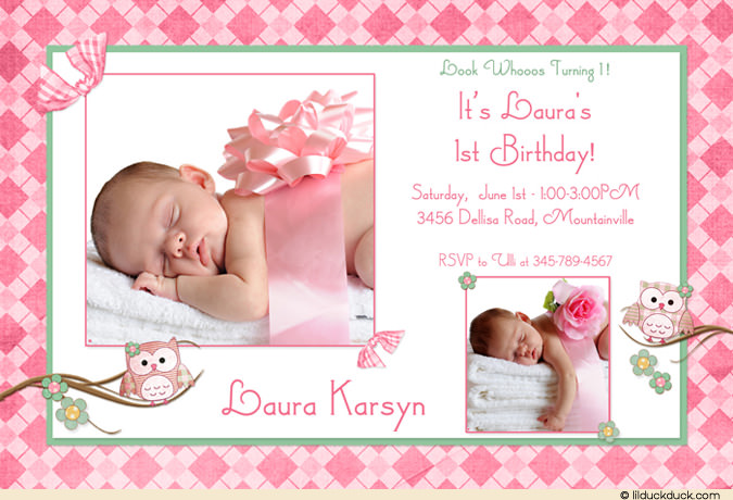 baby birthday card design ; Photo-Owl-1st-Birthday-flower-Bow-Pink-girl-card-l1