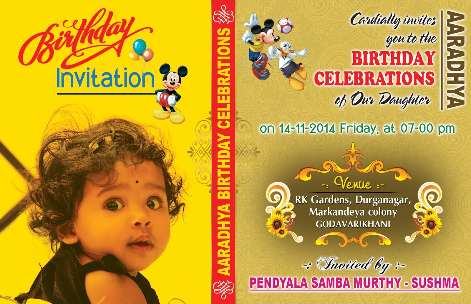 baby birthday invitation card design ; birthday-invitation-card-with-yellow-background-completing-with-unique-and-simple-design-also-elegant-and-green-background-with-a-cute-baby-girl
