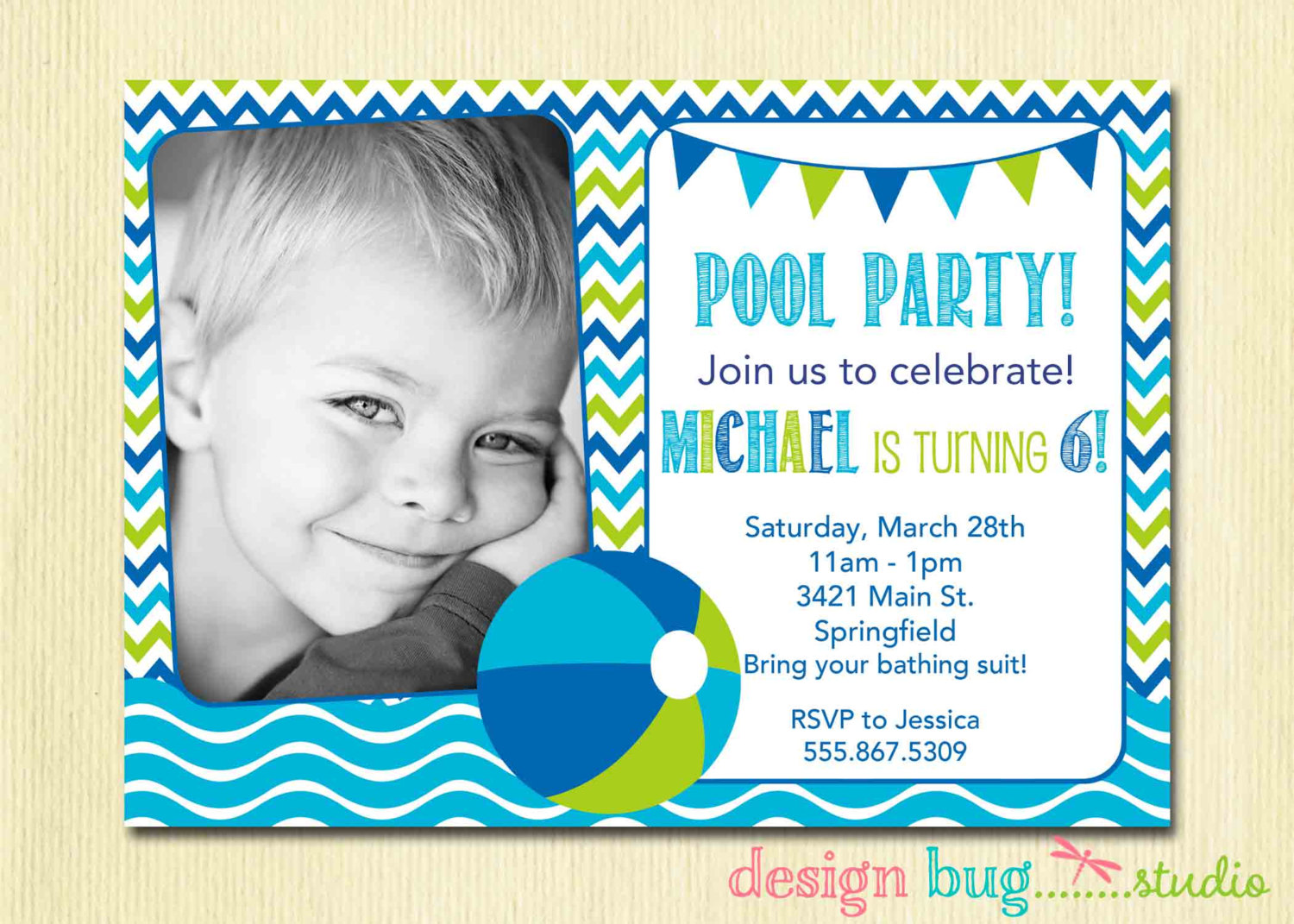 baby birthday invitation card design ; others-cute-pool-birthday-invitation-card-design-idea-for-baby-and-blue-green-letterings-colors