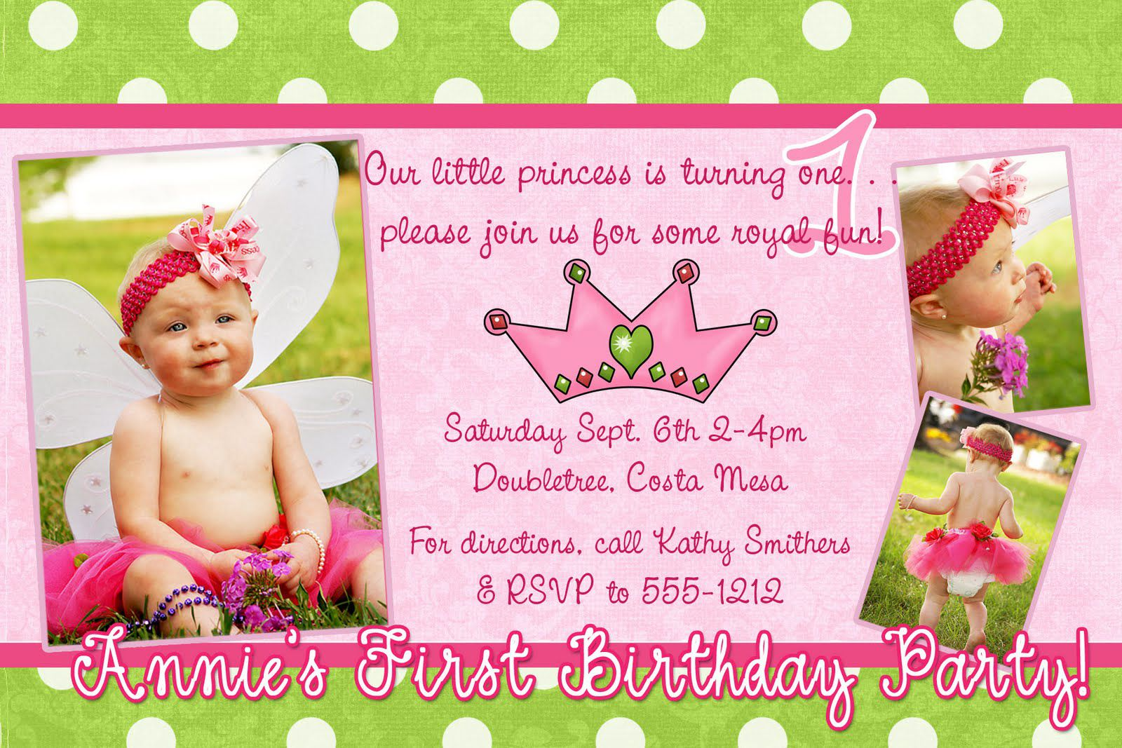 baby birthday invitation card template ; Girl-Birthday-Invitation-Wording