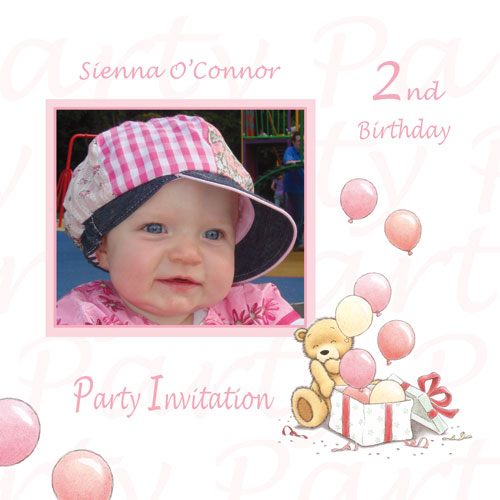 baby girl birthday invitation card design ; 635