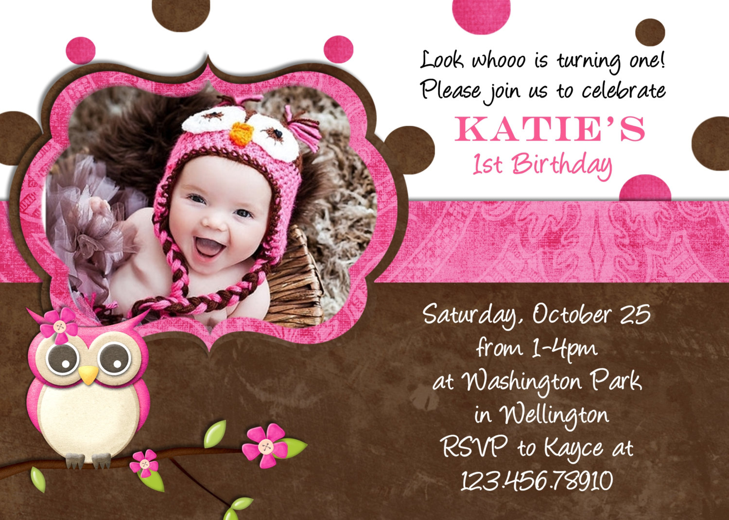 baby girl birthday invitation card design ; awesome-sample-birthday-invitations-cards-colorful-ideas-brown-color-pink-real-picture-baby-girls-owl-wording
