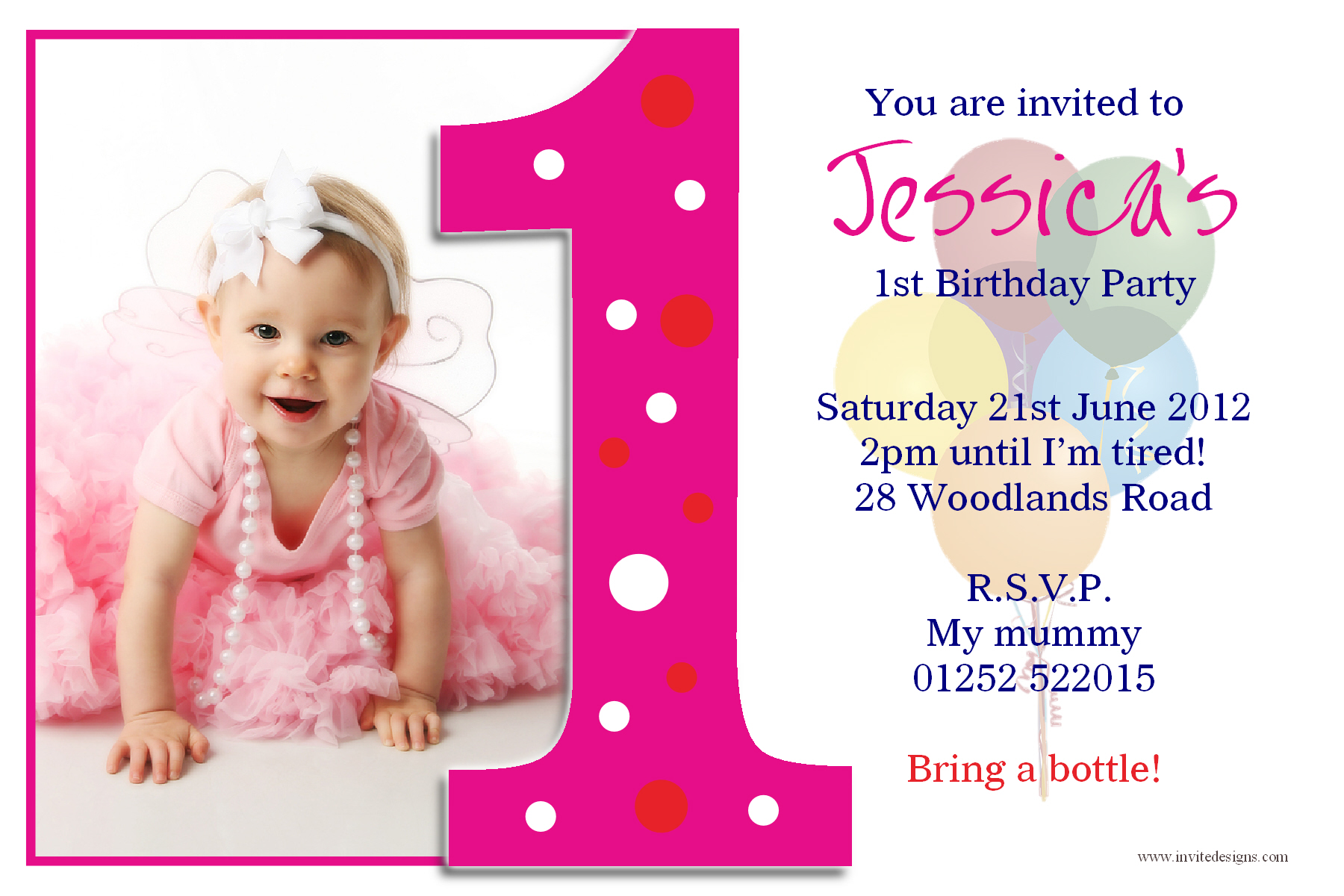 baby girl birthday invitation card design ; beautiful-ideas-first-birthday-invitation-cards-one-years-pink-color-template-designing-real-picture-baby-girls