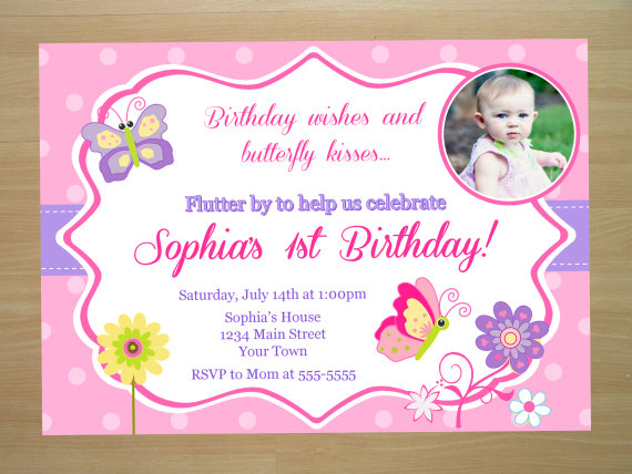 baby girl birthday invitation card design ; butterfly-birthday-invitations-pink-color-printable-card-invite-1th-celebrate-parties-baby-girls-floral-design-pattern