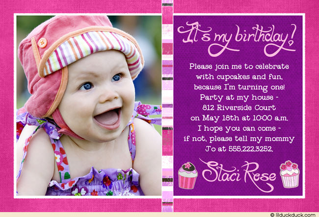 baby girl birthday invitation card design ; cupcake-birthday-invitation-photo-baby-girl-pink-purple-l