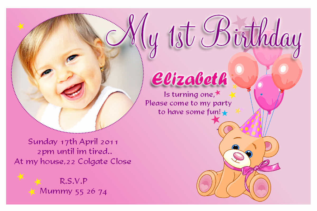 baby girl birthday invitation card design ; general-invitation-cute-birthday-party-invitation-e-card-design-sample-for-kids-with-pink-background-and-brown-teddy-bear-and-funny-baby-girl