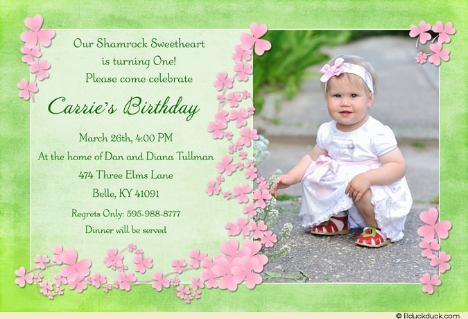 baby girl birthday invitation card design ; luck-Irish-shamrock-girl-pink-photo-card-soft-green