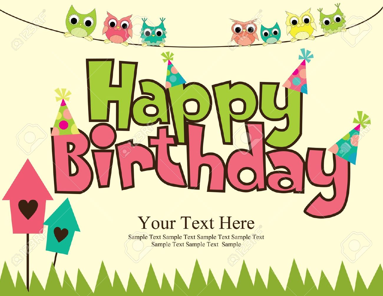 bday card designs ; birthday-cards-design-happy-birthdays-vector-illustraton-Illustration-colorful-owls-your-text-here-sample-messages-grass-pokadot-hat