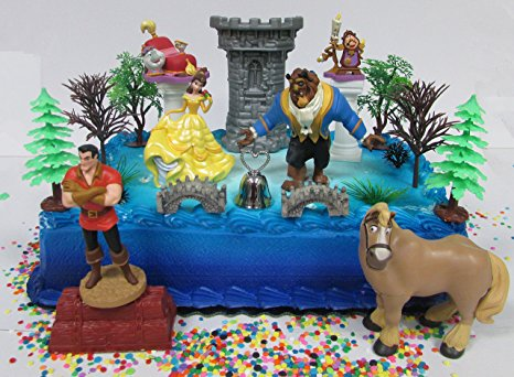 beauty and the beast birthday sheet cake ; 91N4LsPqZXL