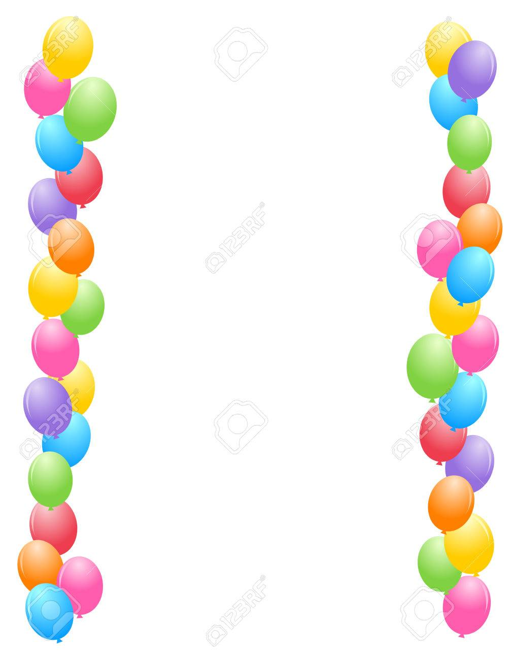 birthday balloons border ; 38545902-colorful-balloons-border-frame-illustration-for-birthday-cards-and-party-backgrounds