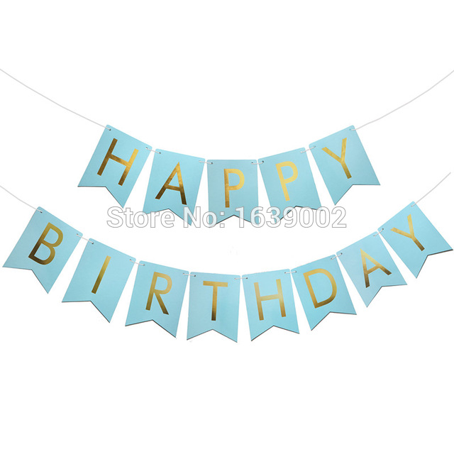 birthday banner design with photo ; New-Design-Happy-Birthday-Banner-Blue-with-Gold-Foil-Letters-Free-Shipping-10set