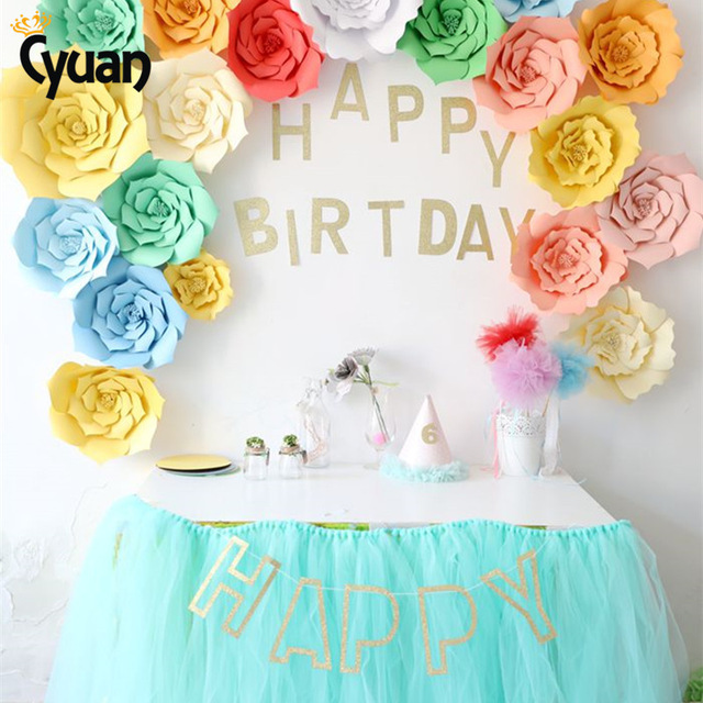 birthday banner images ; Cyuan-23PCS-Cute-DIY-Flower-Paper-BackDrop-Glitter-Happy-Birthday-Banner-Birthday-Party-Decoration-Home-Decor