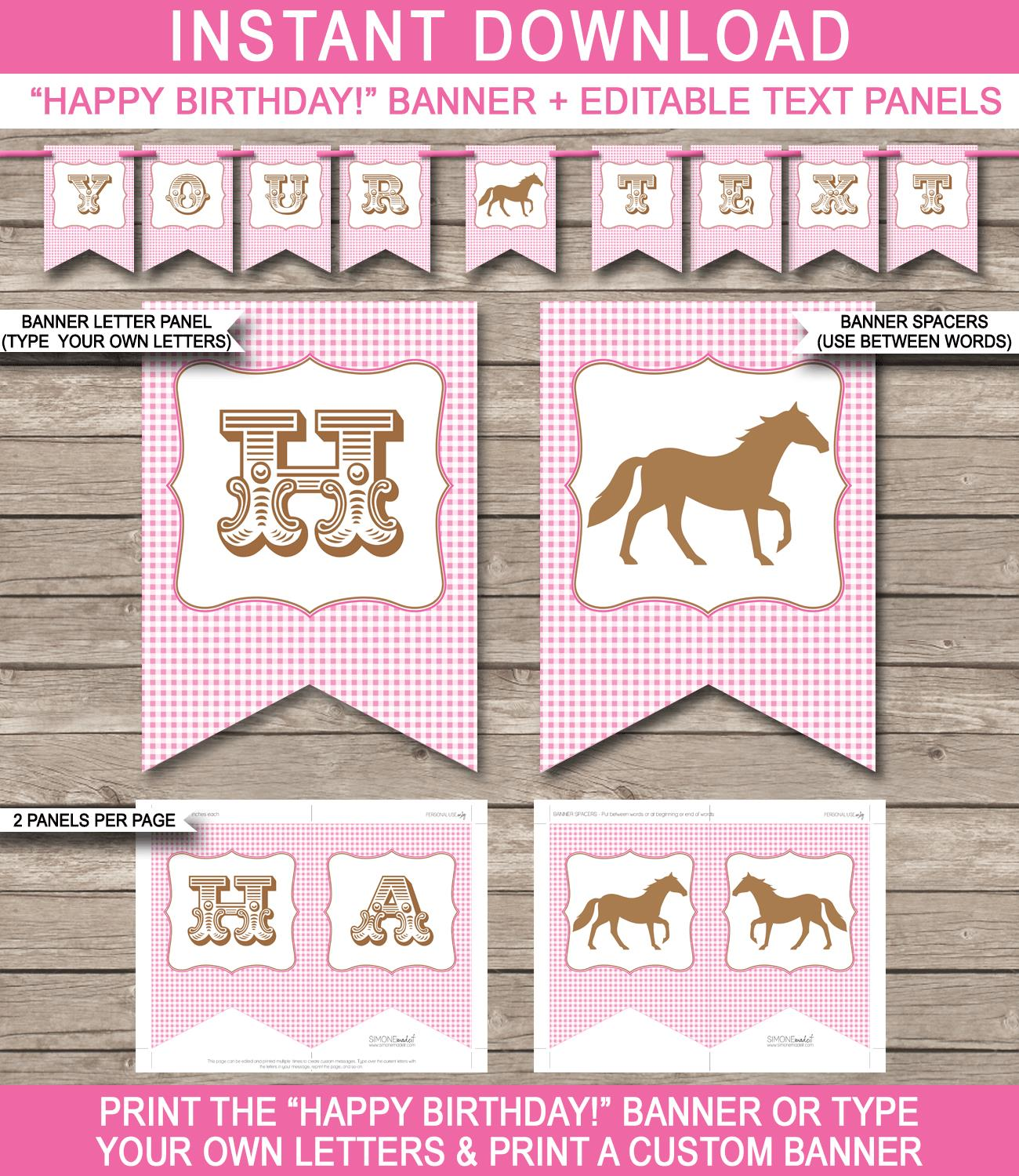 birthday banner templates free printable ; Horse-Pony-Banner-Editable-and-Printable-Template-pink