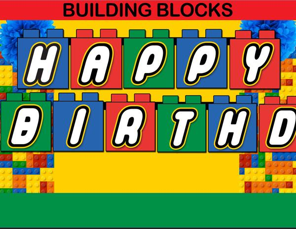 birthday banner with picture ; 40-Building-Blocks-Birthday-Banner