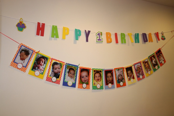 birthday banner with picture ; first-birthday-photo-banner-first-birthday-rainbow-theme-photo-birthday-banner