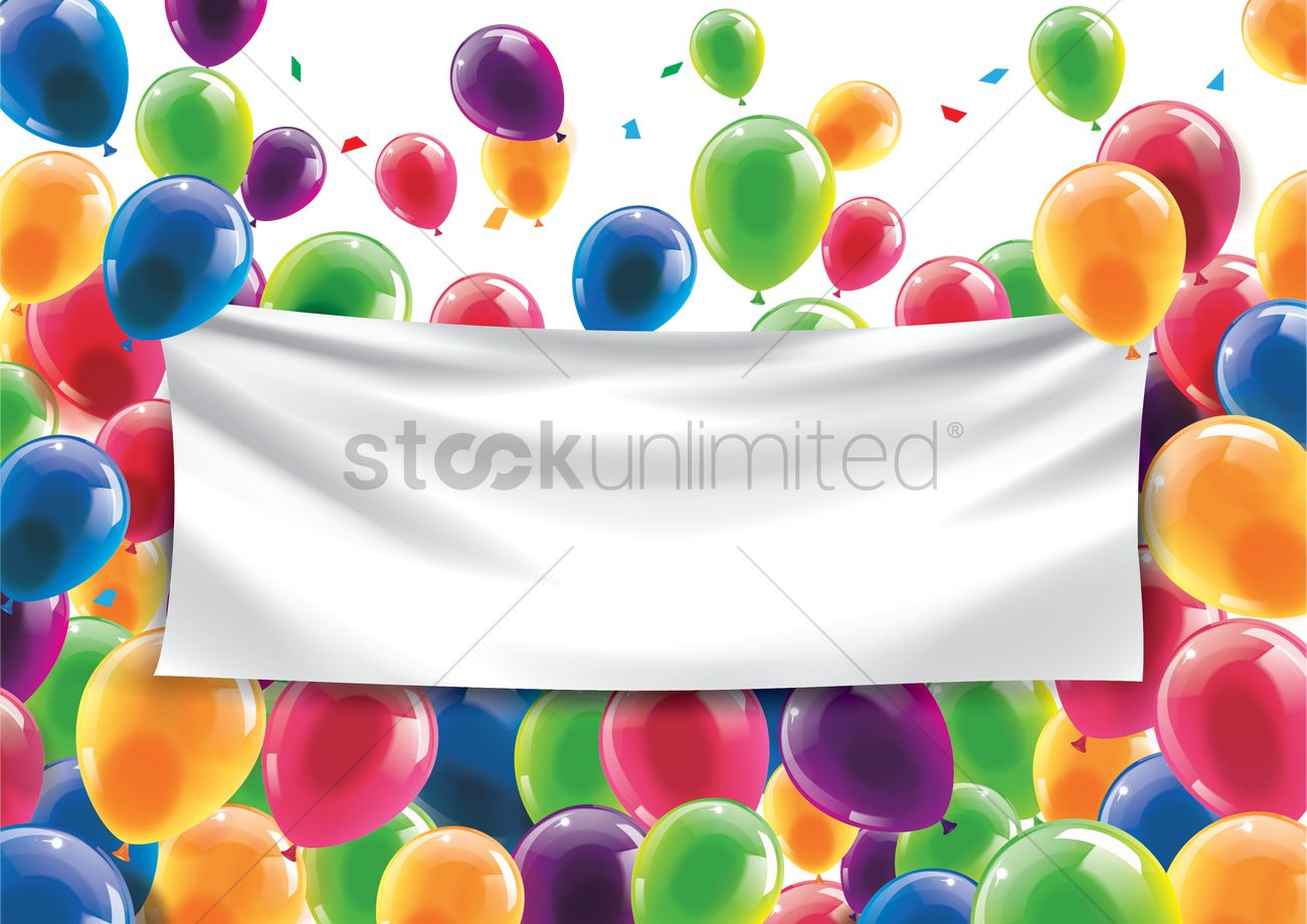 birthday banner with picture ; happy-birthday-concept-with-an-empty-banner_1933374